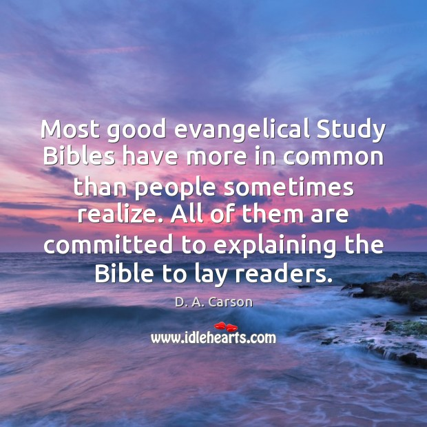 Most good evangelical Study Bibles have more in common than people