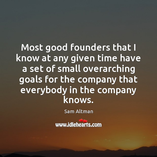 Most good founders that I know at any given time have a Sam Altman Picture Quote