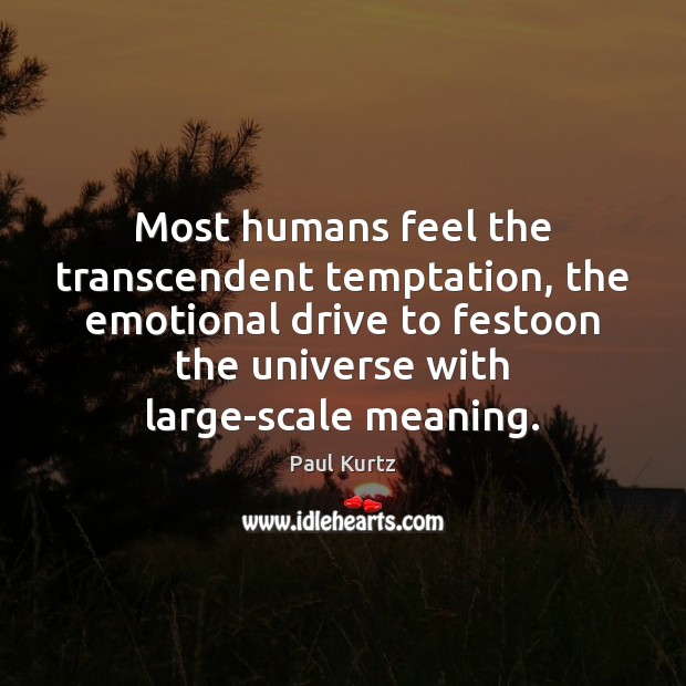 Most humans feel the transcendent temptation, the emotional drive to festoon the Image