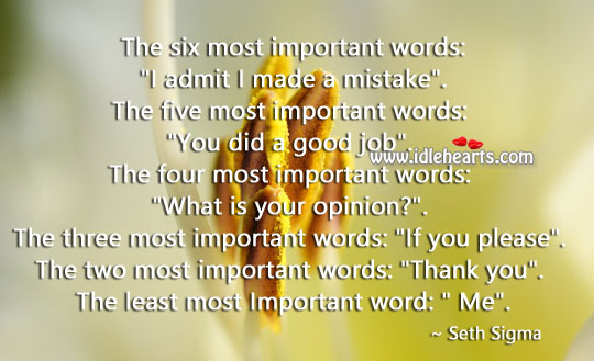 The Two Most Important Words: Thank You.