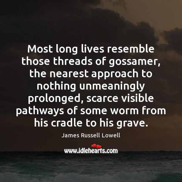 Most long lives resemble those threads of gossamer, the nearest approach to Image