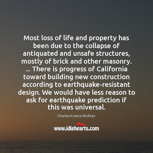 Most loss of life and property has been due to the collapse Progress Quotes Image