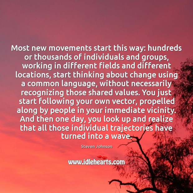 Most new movements start this way: hundreds or thousands of individuals and Image