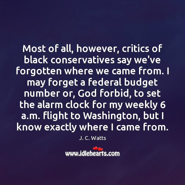Most of all, however, critics of black conservatives say we've forgotten where Image
