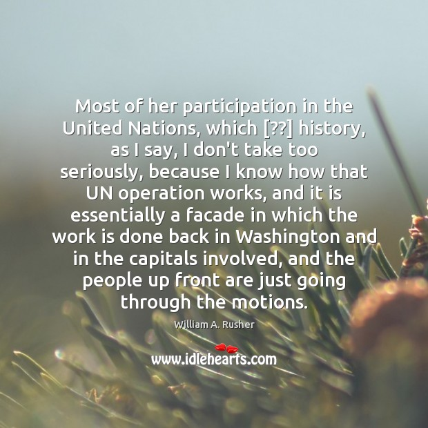 Most of her participation in the United Nations, which [??] history, as I Image