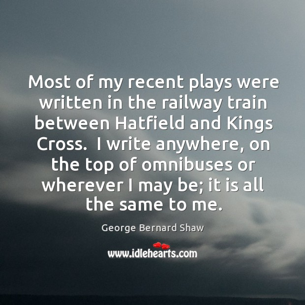 Most of my recent plays were written in the railway train between Image