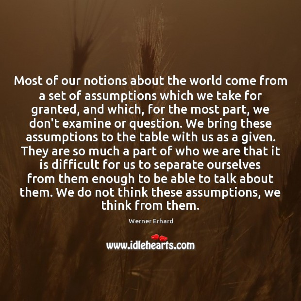 Most of our notions about the world come from a set of Werner Erhard Picture Quote