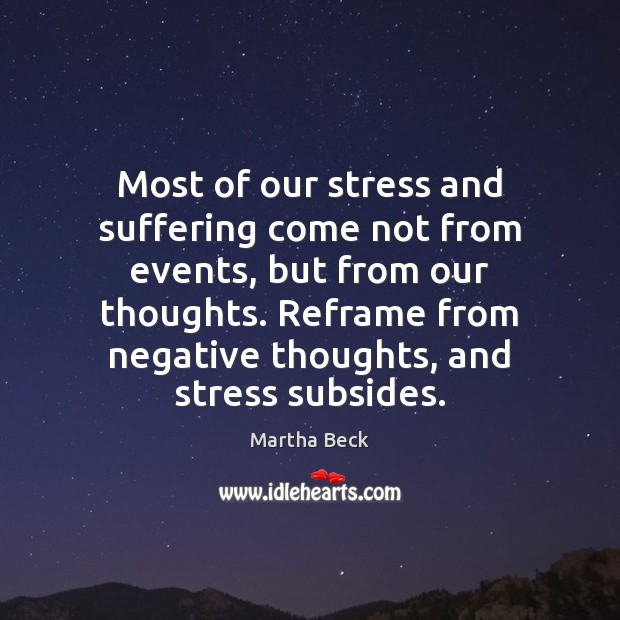 Image, Most of our stress and suffering come not from events, but from