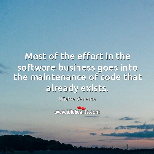 Most of the effort in the software business goes into the maintenance of code that already exists. Image