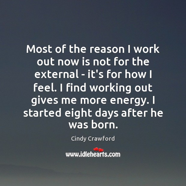 Most of the reason I work out now is not for the Cindy Crawford Picture Quote