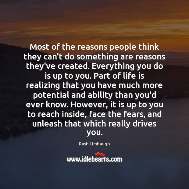 Most of the reasons people think they can't do something are reasons Image