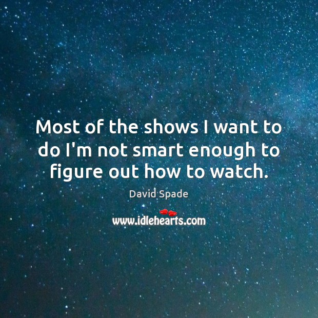 David Spade Picture Quote image saying: Most of the shows I want to do I'm not smart enough to figure out how to watch.