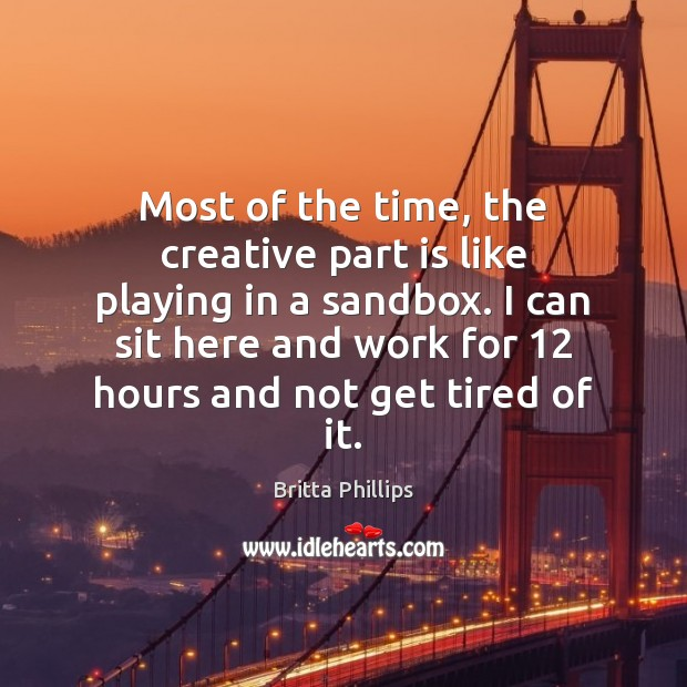 Image, Most of the time, the creative part is like playing in a