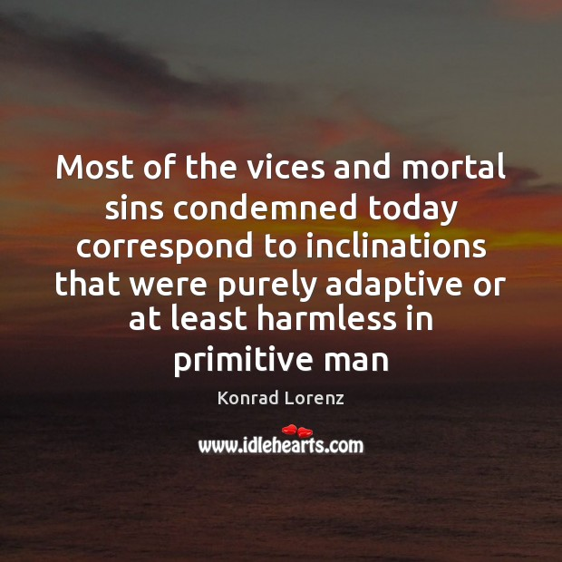 Image, Most of the vices and mortal sins condemned today correspond to inclinations