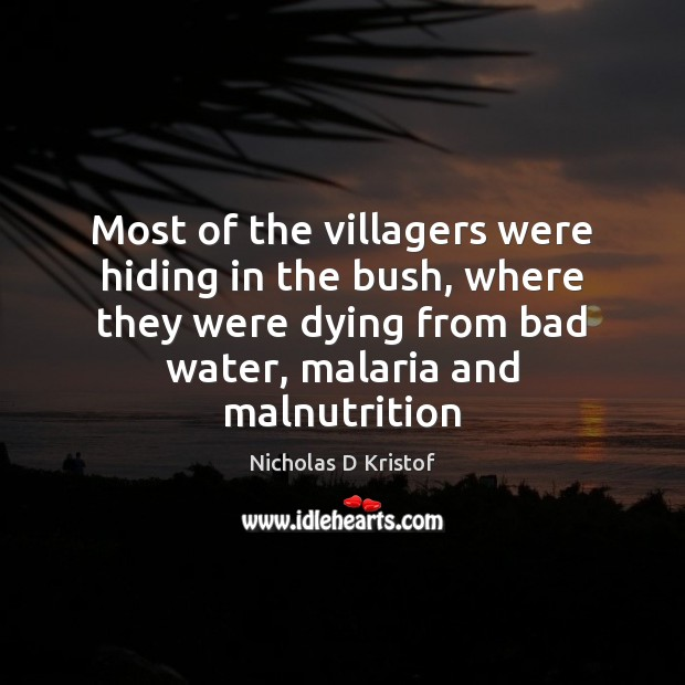 Most of the villagers were hiding in the bush, where they were Nicholas D Kristof Picture Quote