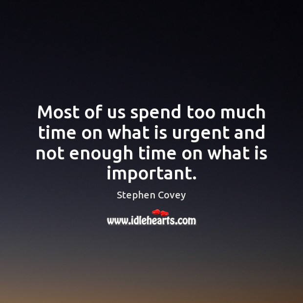 Most of us spend too much time on what is urgent and not enough time on what is important. Image