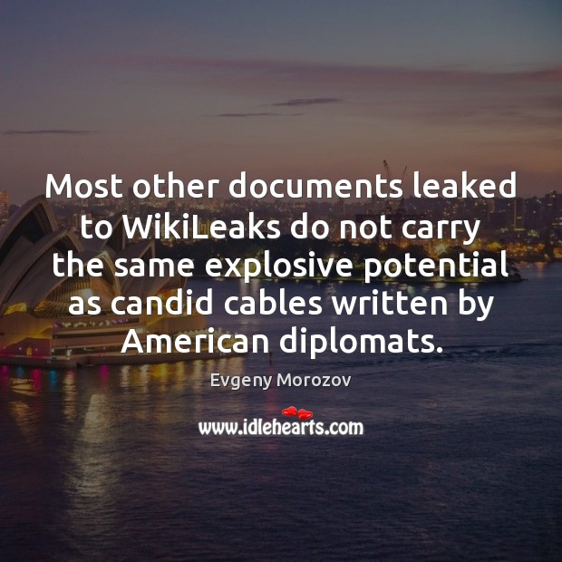 Most other documents leaked to WikiLeaks do not carry the same explosive Image