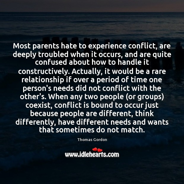 Most parents hate to experience conflict, are deeply troubled when it occurs, Image