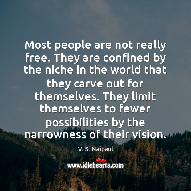 Most people are not really free. They are confined by the niche Image