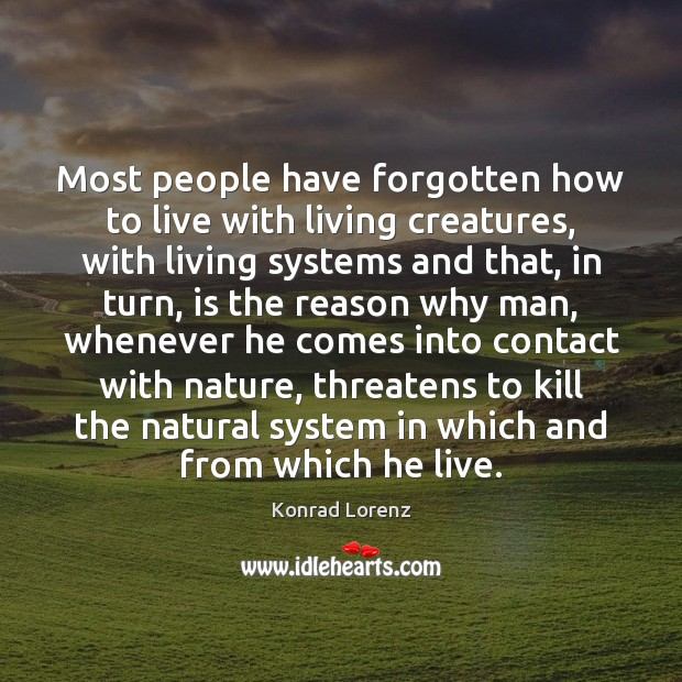 Most people have forgotten how to live with living creatures, with living Image