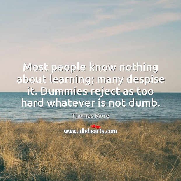 Most people know nothing about learning; many despise it. Dummies reject as Thomas More Picture Quote