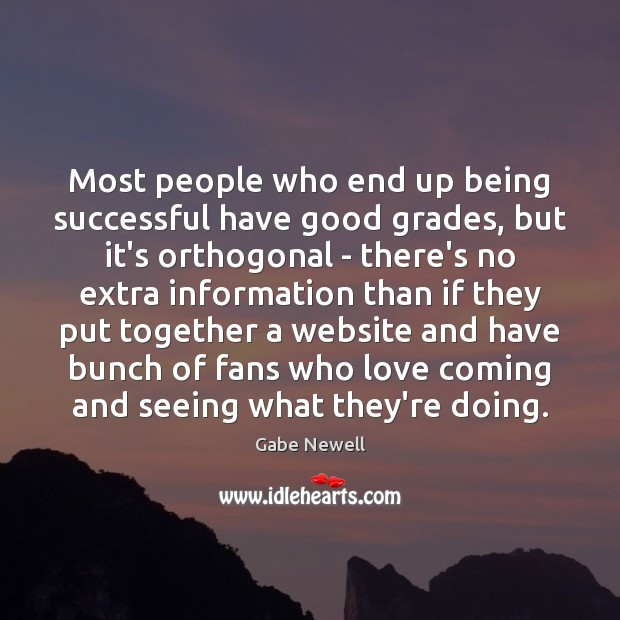 Most people who end up being successful have good grades, but it's Being Successful Quotes Image