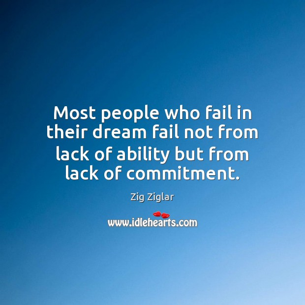 Most people who fail in their dream fail not from lack of Image