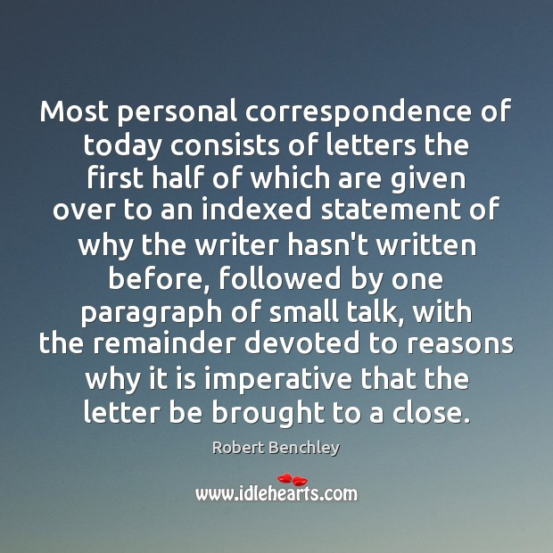 Image, Most personal correspondence of today consists of letters the first half of