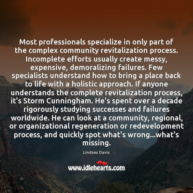 Most professionals specialize in only part of the complex community revitalization process. Image