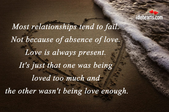 Image, Most relationships tend to fail because one was being loved too much.