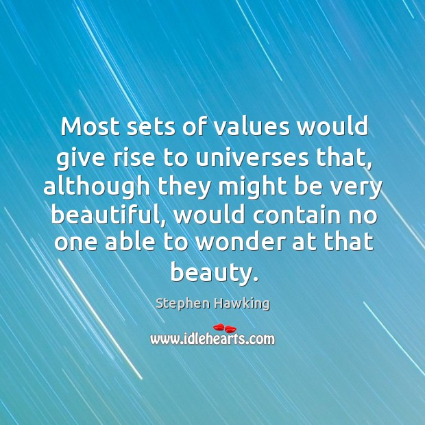 Most sets of values would give rise to universes that Image