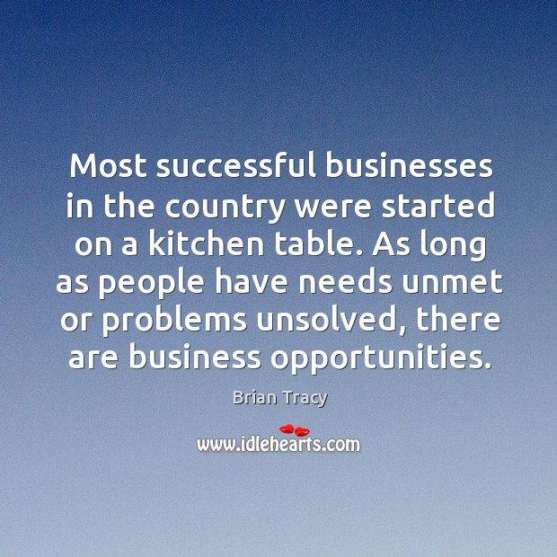 Most successful businesses in the country were started on a kitchen table. Image