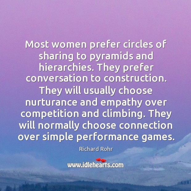 Most women prefer circles of sharing to pyramids and hierarchies. They prefer Image