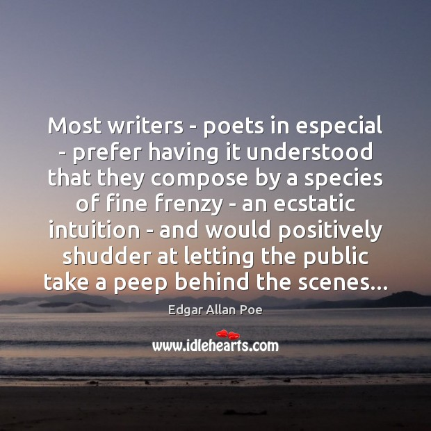 Image, Most writers – poets in especial – prefer having it understood that