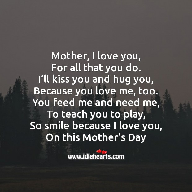 Mother, I love you Mother's Day Quotes Image