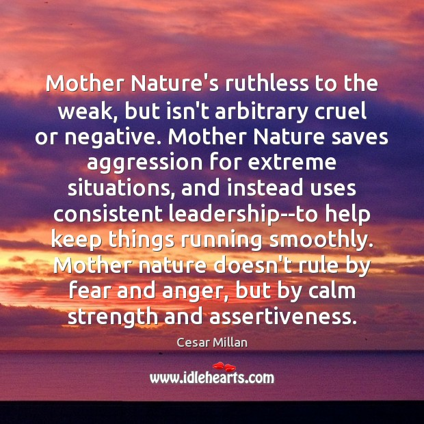 Image, Mother Nature's ruthless to the weak, but isn't arbitrary cruel or negative.