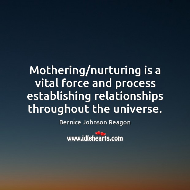 Image, Mothering/nurturing is a vital force and process establishing relationships throughout the