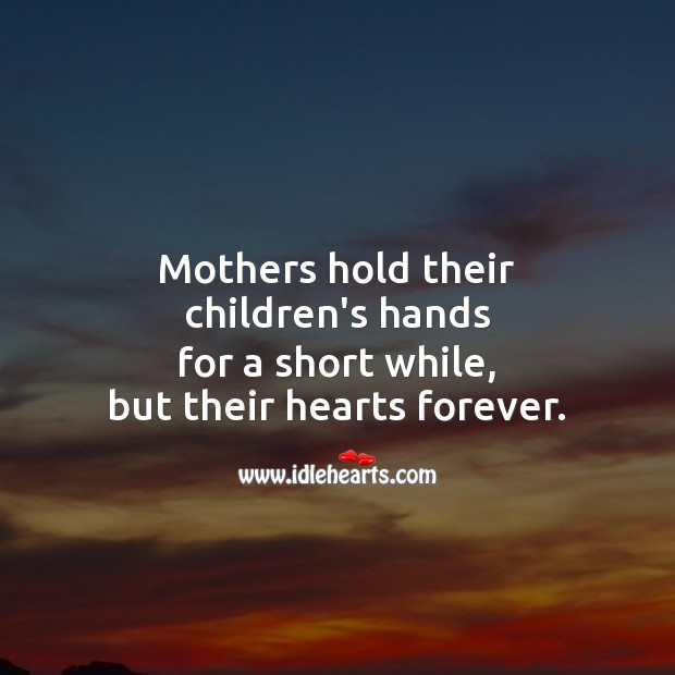 Image, Mothers hold their  children's hands