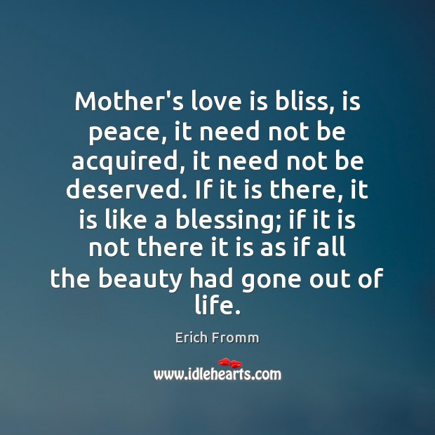 Image, Mother's love is bliss, is peace, it need not be acquired, it