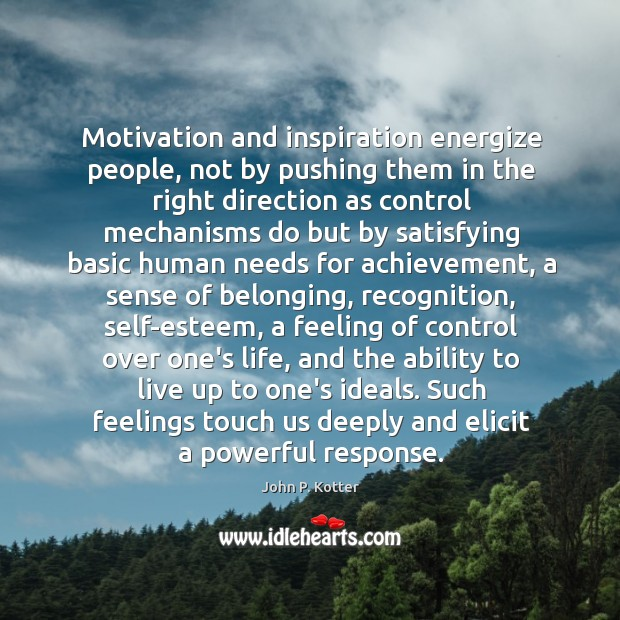 Image, Motivation and inspiration energize people, not by pushing them in the right
