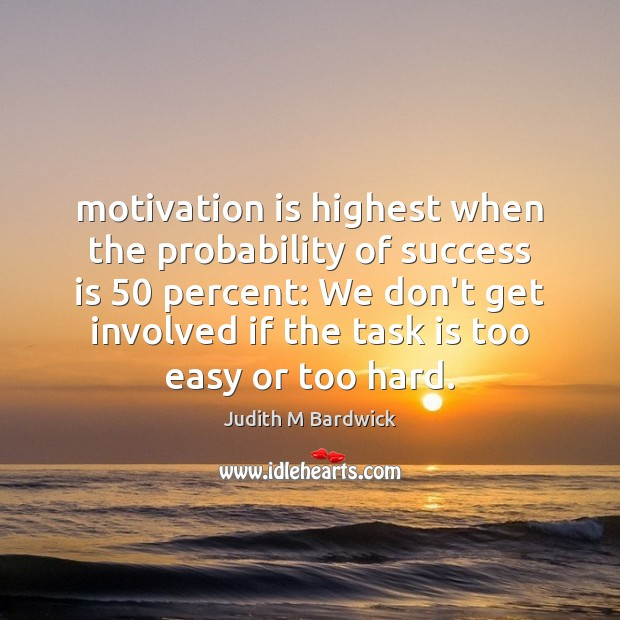 Motivation is highest when the probability of success is 50 percent: We don't Image