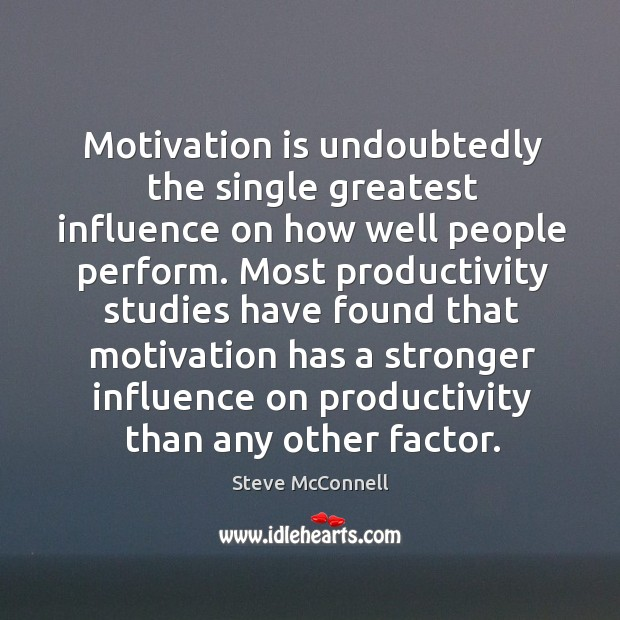 Motivation is undoubtedly the single greatest influence on how well people perform. Image