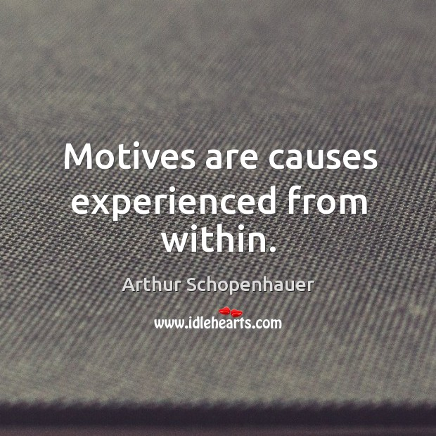 Motives are causes experienced from within. Image