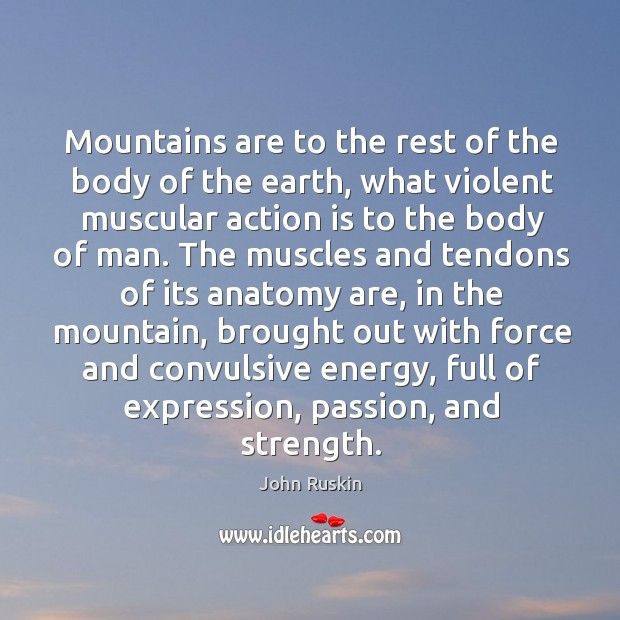 Mountains are to the rest of the body of the earth, what violent muscular Image