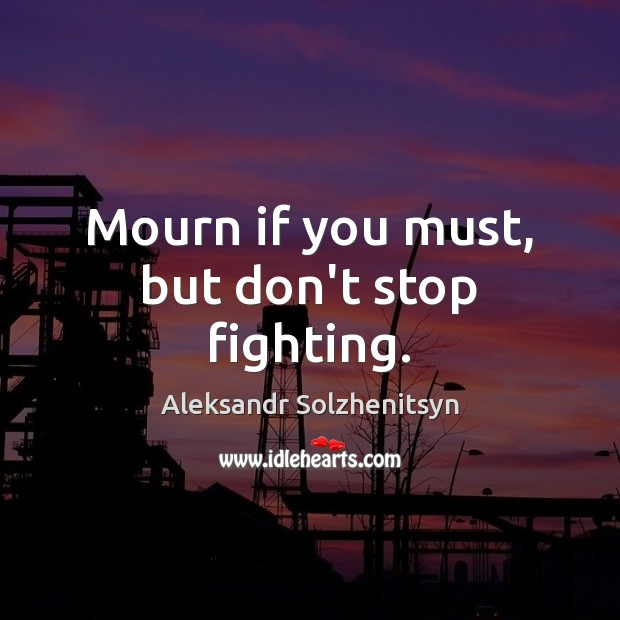 Mourn if you must, but don't stop fighting. Aleksandr Solzhenitsyn Picture Quote