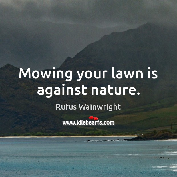 Mowing your lawn is against nature. Image