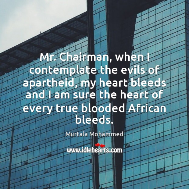 Image, Mr. Chairman, when I contemplate the evils of apartheid, my heart bleeds