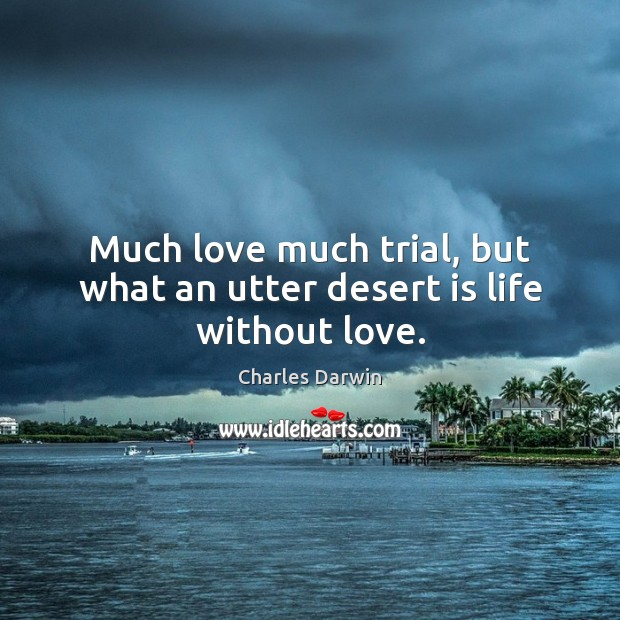 Much love much trial, but what an utter desert is life without love. Image