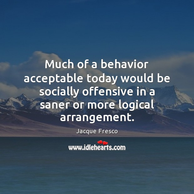 Much of a behavior acceptable today would be socially offensive in a Offensive Quotes Image