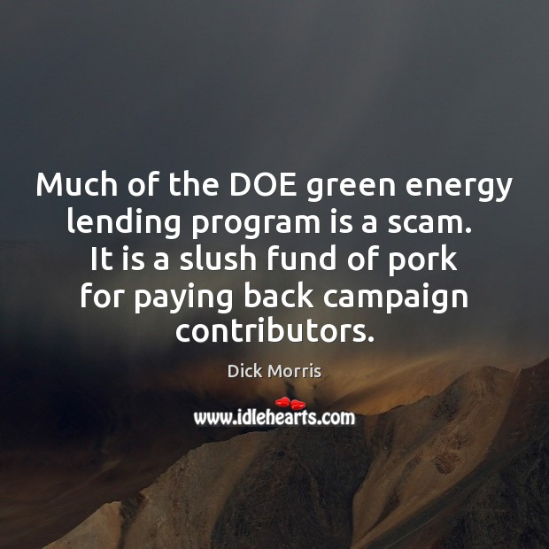 Much of the DOE green energy lending program is a scam.  It Dick Morris Picture Quote